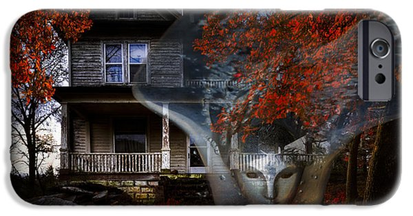 Haunted House iPhone Cases - Ghost iPhone Case by Debra and Dave Vanderlaan