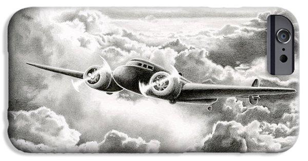 Americana Drawings iPhone Cases - Ghost Flight- Amelia Earhart iPhone Case by Sarah Batalka