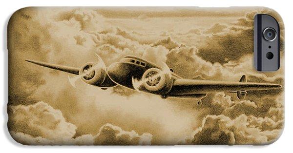 Americana Drawings iPhone Cases - Ghost Flight- Amelia Earhart Sepia iPhone Case by Sarah Batalka