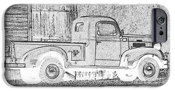 Old Barn Drawing iPhone Cases - Ghost of a Truck iPhone Case by Jean Noren