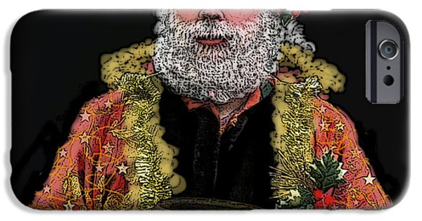 Scrooge iPhone Cases - Ghost of Christmas Present iPhone Case by Carol Jacobs