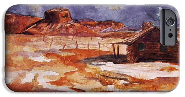 Storm iPhone Cases - Ghost Ranch NM Winter  iPhone Case by Ellen Levinson