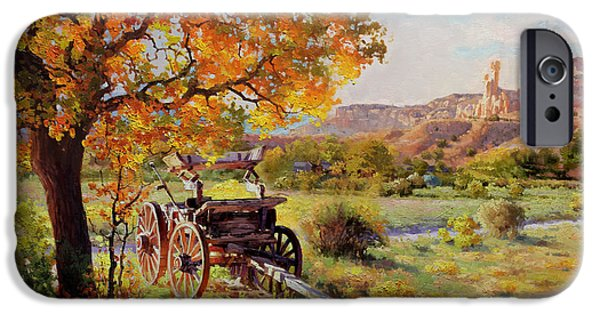 Wooden Wagons iPhone Cases - Ghost Ranch Old Wagon iPhone Case by Gary Kim