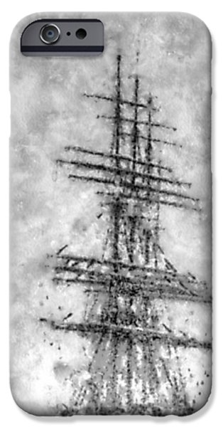Ghosts Pyrography iPhone Cases - Ghost ship iPhone Case by Yury Bashkin