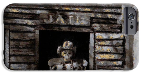 Cell Mixed Media iPhone Cases - Ghost Town Jail iPhone Case by Dan Sproul