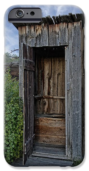Shed iPhone Cases - Ghost Town Outhouse - Montana iPhone Case by Daniel Hagerman