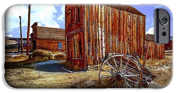 Buildings Mixed Media iPhone Cases - Ghost Towns in the SouthWest iPhone Case by  Bob and Nadine Johnston
