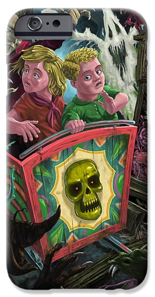 Supernatural Digital Art iPhone Cases - Ghost Train Fun Fair Kids iPhone Case by Martin Davey