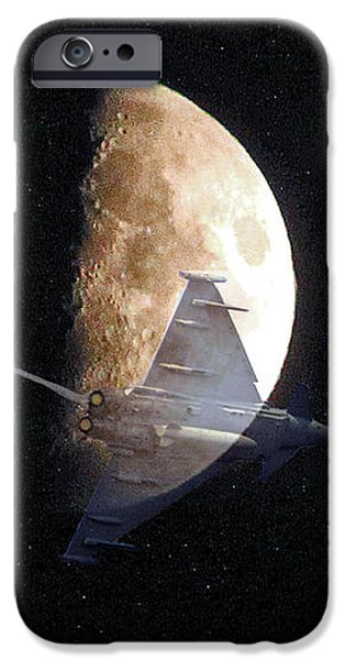 Ghostly Eurofighter against a full moon iPhone Case by Peter McHallam