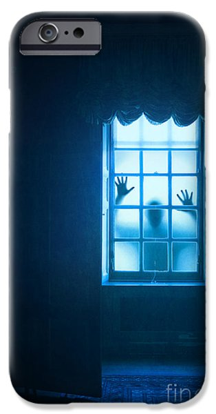 Eerie iPhone Cases - Ghostly Person At A Window iPhone Case by Lee Avison