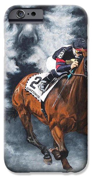Horse Racing iPhone Cases - Ghostzapper iPhone Case by Pat DeLong