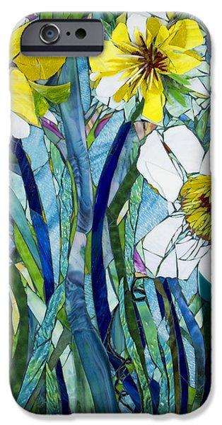 Snake Glass Art iPhone Cases - Giant Daffodils iPhone Case by Beverly Thomas Jenkins