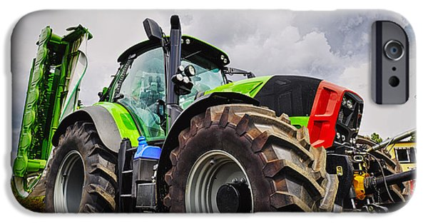 Mower iPhone Cases - Giant Farming Tractor Latest Model iPhone Case by Christian Lagereek