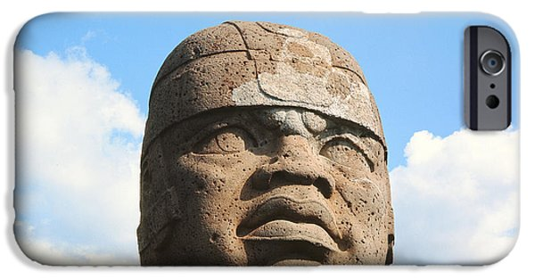 Pres iPhone Cases - Giant Head, Olmec Culture Stone iPhone Case by Pre-Columbian