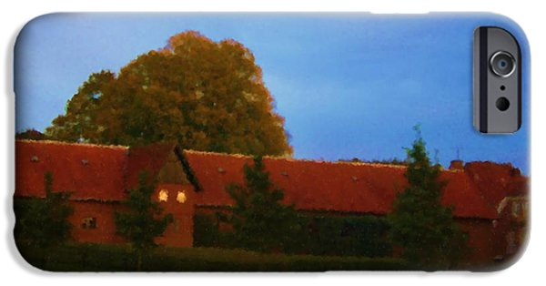 Asbjorn Lonvig Digital iPhone Cases - Giant Oak and Stable of the Manor House near Rohden River Valley_Painting iPhone Case by Asbjorn Lonvig