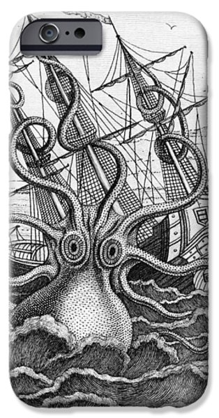 Tentacles iPhone Cases - Giant Octopus illustration from L Histoire Naturelle Generale et Particuliere des Mollusques iPhone Case by French School