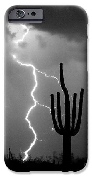 Lightning Bolts iPhone Cases - Giant Saguaro Cactus Lightning Strike BW iPhone Case by James BO  Insogna