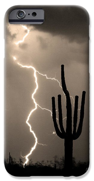 Giant Saguaro Cactus Lightning Strike Sepia  iPhone Case by James BO  Insogna