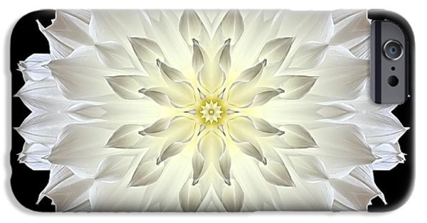 David J Bookbinder iPhone Cases - Giant White Dahlia Flower Mandala iPhone Case by David J Bookbinder