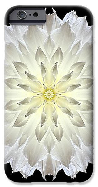 Giant White Dahlia Flower Mandala iPhone Case by David J Bookbinder