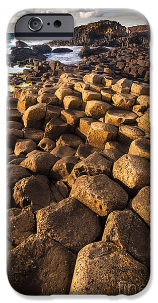 Emerald Green iPhone Cases - Giants Causeway Bricks iPhone Case by Inge Johnsson
