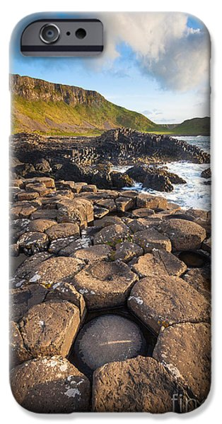 Emerald Green iPhone Cases - Giants Causeway Circle of Stones iPhone Case by Inge Johnsson