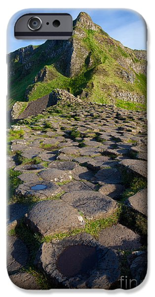 Emerald Green iPhone Cases - Giants Causeway Green Peak iPhone Case by Inge Johnsson