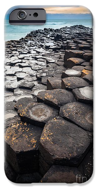 Emerald Green iPhone Cases - Giants Causeway Hexagons iPhone Case by Inge Johnsson