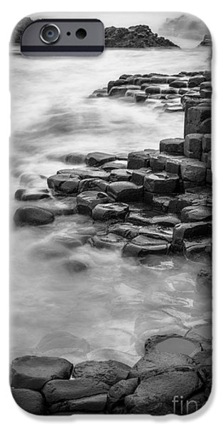 Emerald Green iPhone Cases - Giants Causeway Waves  iPhone Case by Inge Johnsson