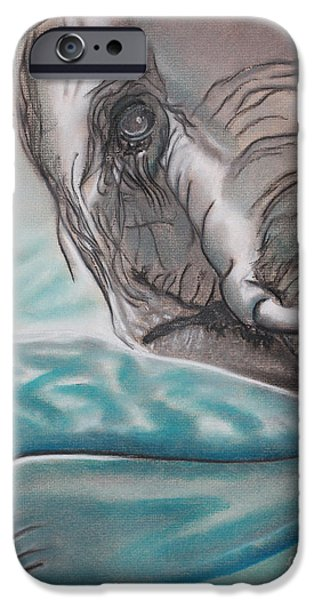 Elephants Pastels iPhone Cases - GIANTS Falling Hard iPhone Case by Robert Timmons