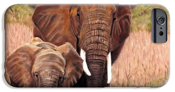 Children Pastels iPhone Cases - Giants Of Kenya iPhone Case by Carol McCarty
