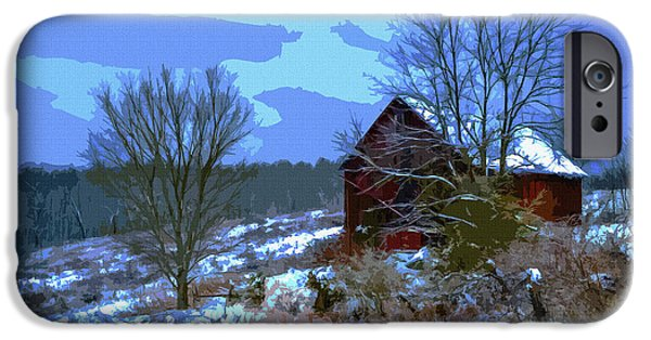Red Barn In Winter iPhone Cases - Gibisonville - Ohio 2 iPhone Case by Brian Stevens