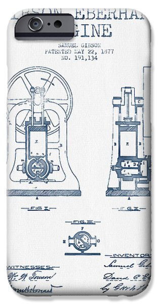 Steam Engine iPhone Cases - Gibson Eberhart Engine Patent Drawing From 1877- Blue Ink iPhone Case by Aged Pixel
