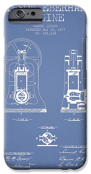 Steam Engine iPhone Cases - Gibson Eberhart Engine Patent Drawing From 1877- Light Blue iPhone Case by Aged Pixel