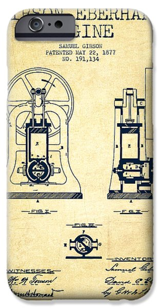 Steam iPhone Cases - Gibson Eberhart Engine Patent Drawing From 1877- Vintage iPhone Case by Aged Pixel