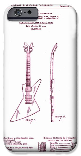 Epiphone Guitar iPhone Cases - Gibson Explorer Guitar Patent iPhone Case by Nomad Art And  Design