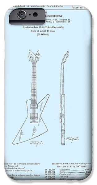 Epiphone Guitar iPhone Cases - Gibson Explorer  Patent 1958 iPhone Case by Nomad Art And  Design