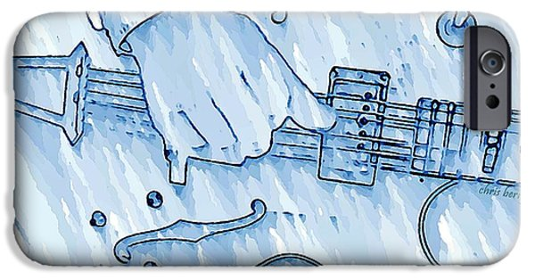 Berry iPhone Cases - Gibson Guitar in Blue iPhone Case by Chris Berry