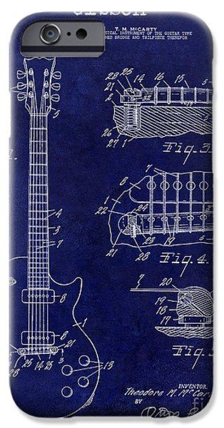 `les iPhone Cases - Gibson Guitar Patent Drawing Blue iPhone Case by Jon Neidert