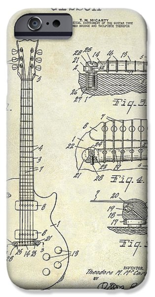 `les iPhone Cases - Gibson Guitar Patent Drawing iPhone Case by Jon Neidert