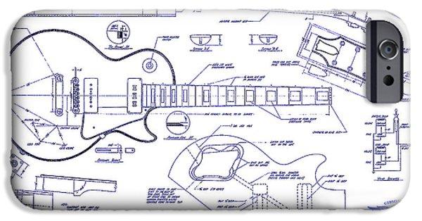 `les iPhone Cases - Gibson Les Paul Blueprint Drawing iPhone Case by Jon Neidert