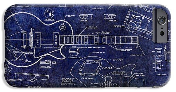 `les iPhone Cases - Gibson Les Paul Blueprint iPhone Case by Jon Neidert