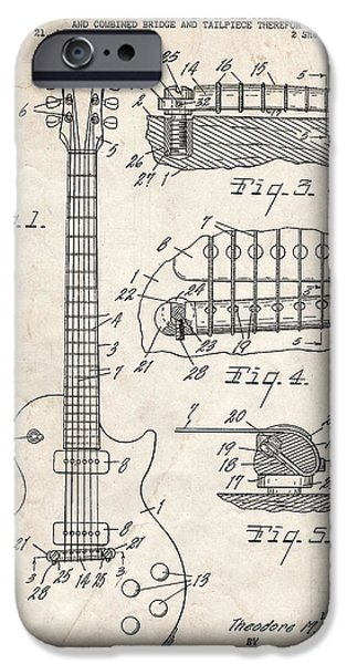Stratocaster Drawings iPhone Cases - Gibson Les Paul Guitar Patent Art iPhone Case by Stephen Chambers