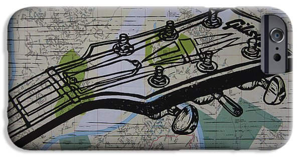 Lino Drawings iPhone Cases - Gibson on Map iPhone Case by William Cauthern