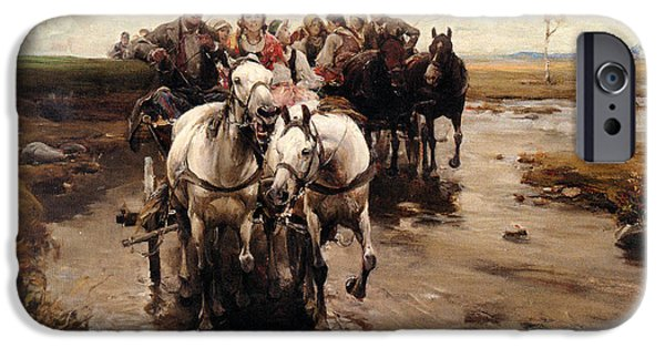 Horse And Buggy iPhone Cases - Giddy Up iPhone Case by Alfred von Wierusz-Kowalski