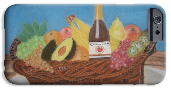 Wine Bottles Pastels iPhone Cases - Gift Basket iPhone Case by Vandna Mehta