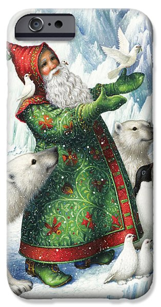Santa iPhone Cases - Gift of Peace iPhone Case by Lynn Bywaters
