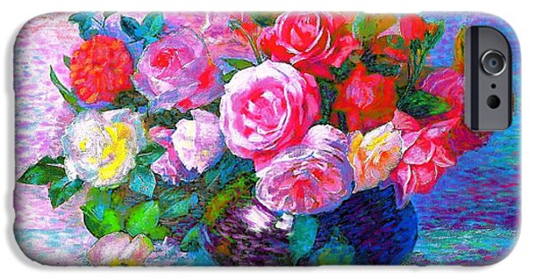 Floral Still Life Paintings iPhone Cases - Gift of Roses iPhone Case by Jane Small