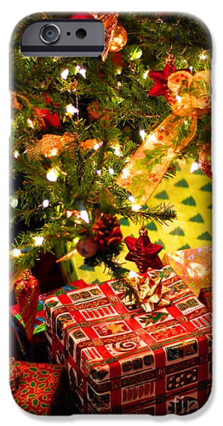 Christmas Tree iPhone Cases - Gifts under Christmas tree iPhone Case by Elena Elisseeva