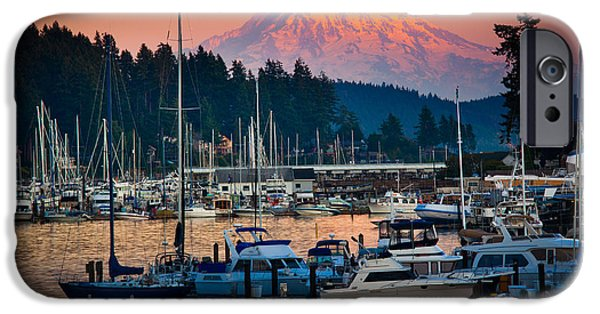 Yachts iPhone Cases - Gig Harbor Dusk iPhone Case by Inge Johnsson
